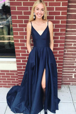 00c118e60f6 Dark Blue Spaghetti Strap Long Satin Evening Dress