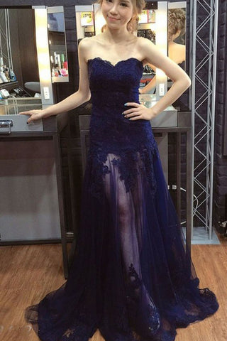 ecdb317c7ec9 Sexy Sweetheart Tulle Prom Dress with Lace Appliques, See Through Long Prom  Gown N1738 – Simibridaldress