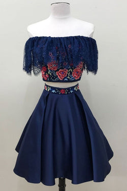 Two Piece Dark Blue Off the Shoulder Satin Homecoming Dress, Unique Party Dress with Lace