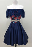 Two Piece Dark Blue Off the Shoulder Satin Homecoming Dress, Unique Party Dress with Lace N905