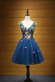Cheap Dark Blue V Neck Tulle Short Homecoming Dress with Appliques