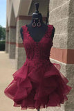 Dark Burgundy V Neck Outstanding Lace Appliqued Tulle Homecoming Dress N879