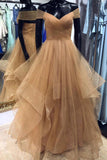 Dark Champagne A Line Off the Shoulder Floor Length Prom Dress with Pleats, Long Evening Dresses N1536