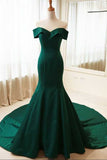 Dark Green Off the Shoulder Mermaid Prom Dress, Sexy Long Evening Dresses
