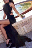 Sexy Mermaid Long Dark Navy Backless Sweep Train Prom Dress with Side Slit,N535