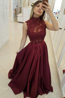 Dark Red High Neck Sleeveless Long Prom Dresses with Lace, A Line Graduation Dress N1576