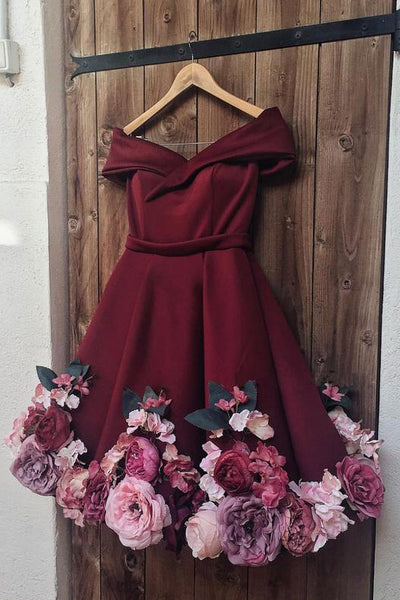 A-Line Off-the-shoulder Burgundy Juniors Short Homecoming Dress with Flowers N1844