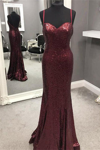 Spaghetti Strap Mermaid Sequined Prom Dress, Sparkly Floor Length Backless Evening Dress
