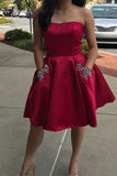 Simple Strapless Cheap Beaded Dark Red Homecoming Dresses with Pockets
