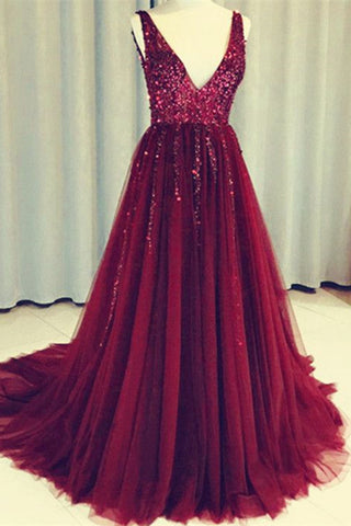 Dark Red V Neck Sleeveless Tulle Prom Dress with Sequins, Long Sequined Evening Dress