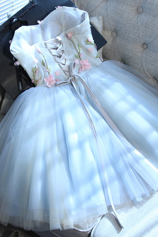 Beautiful Sweetheart Tulle Graduation Dress with Flower, A Line Strapless Cute Homecoming Dress N916