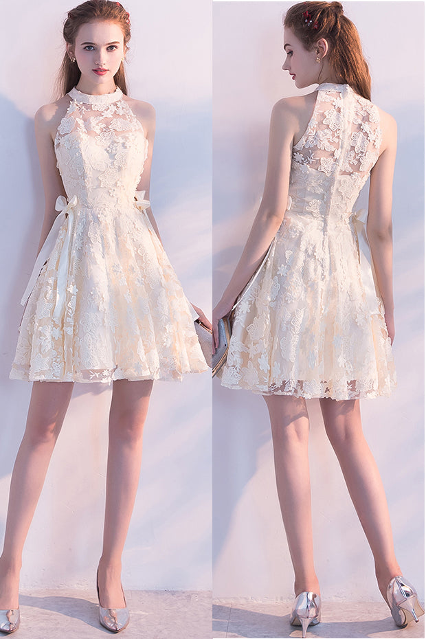 Cute Sleeveless Short Lace Homecoming Dress, Cheap Mini Graduation Dresses N1972