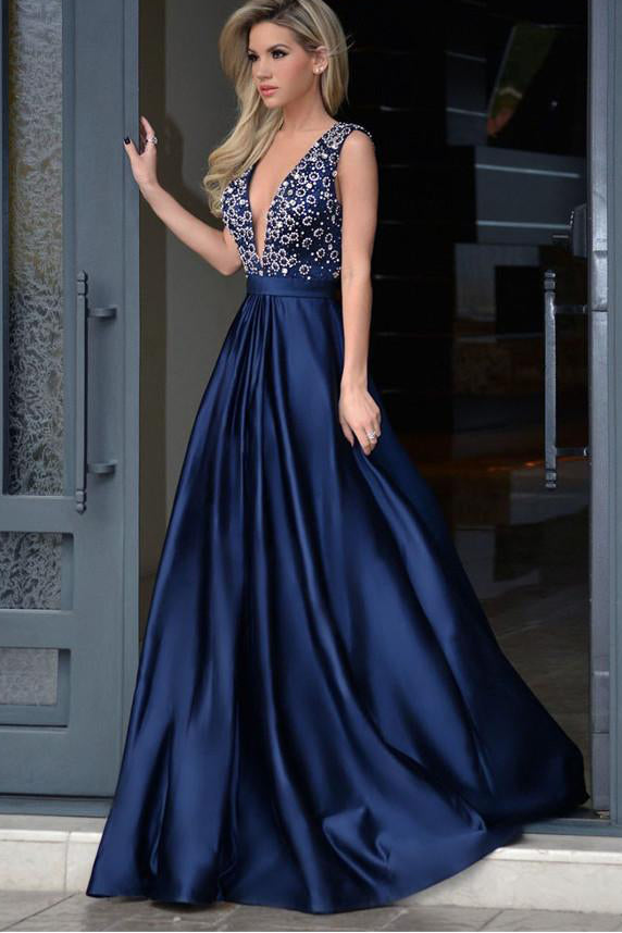 Elegant A-line Dark Blue Deep V-neck Satin with Beading Sweep Train Backless Prom Dress,N522