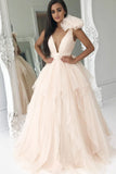 Elegant Deep V-Neck Light Pink Ball Gown Princess Prom Dresses Quinceanera Dresses