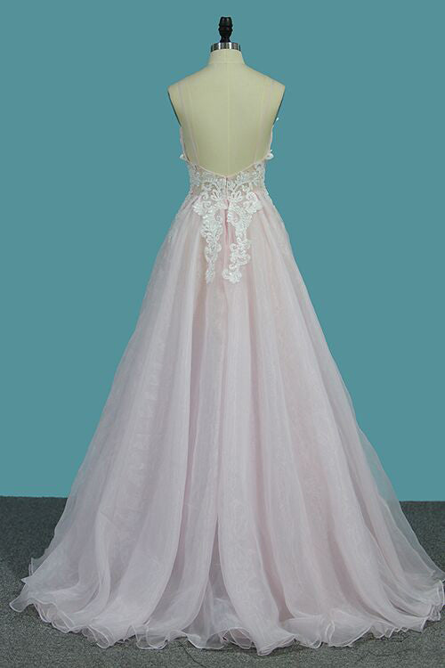 Deep V Neck Light Pink A Line Prom Dress, Spaghetti Straps Appliques Sexy Prom Dress N946