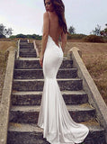 Mermaid V-neck Backless Long Bridesmaid Dress,Party Dresses N21