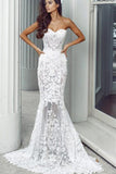 Mermaid Sweetheart Long Lace Wedding Dress,Strapless Sweep Train Bridal Dress,N523