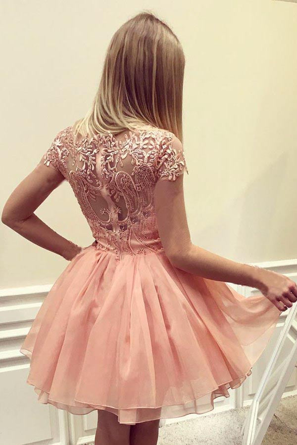 Peach Cap Sleeves Short Chiffon Homecoming Dress with Appliques, A Line Short Prom Dress N919