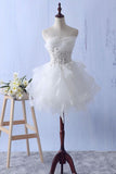 Ivory Mini Ruffles Strapless Short Homecoming Dress,Lace Appliques Graduation Dress N791