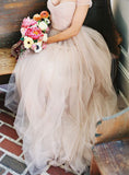 Simple Beach Wedding Dresses,A-Line Off-Shoulder Tulle Bridal Dress,Long Prom Dress,N106