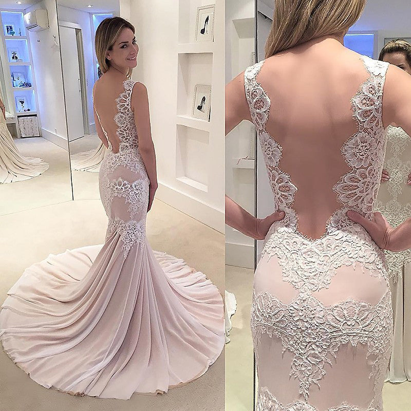 Mermaid Wedding Dress,Appliqued Sleeveless Wedding Gown,Chiffon Sexy Backless Bridal Dress,N126