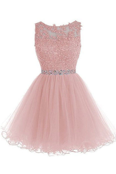 Appliqued Sleeveless Homecoming Dress with Beads,Tulle Homecoming Gown,Short Prom Gown,N273