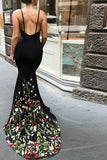 Black Mermaid Prom Dress, Spaghetti Strap Sleeveless Evening Dress with Lace Flowers N1370
