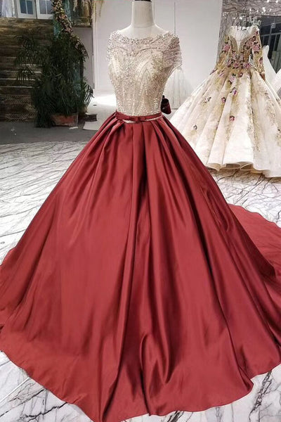Ball Gown Satin Prom Dress with Beading, Long Formal Dresses with Short Sleeves N1892