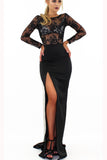 Sexy Long Sleeve Split Prom Dress with Side Slit, Long Evening Dress with Lace N1378