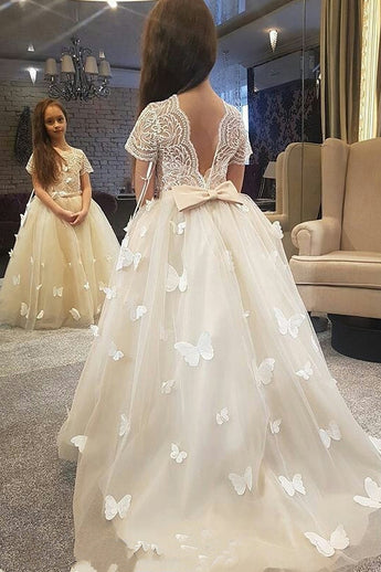 Princess Ivory Long Flower Girl Dress with Short Sleeves, Flower Girl Dress with Butterfly F043