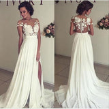 See-through Short Sleeve Lace Appliqued Long Beach Wedding Dress,Ivory Chiffon Bridal Dress,N234