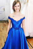 Royal Blue Off the Shoulder Prom Dress with Lace Appliques, A Line Satin Long Evening Dress N1608