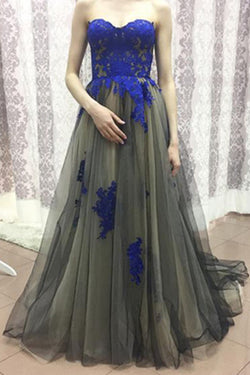 Sweetheart Tulle Prom Dress,Royal Blue Appliqued Prom Dresses,Sexy Long Prom Dresses,Strapless Prom Gowns,Long Formal Dresses