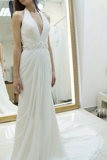A-line Halter Wedding Dress,Chiffon Wedding Dress With Court Train,Backless Court Train Bridal Dresses with Beading,Beach Wedding Dress