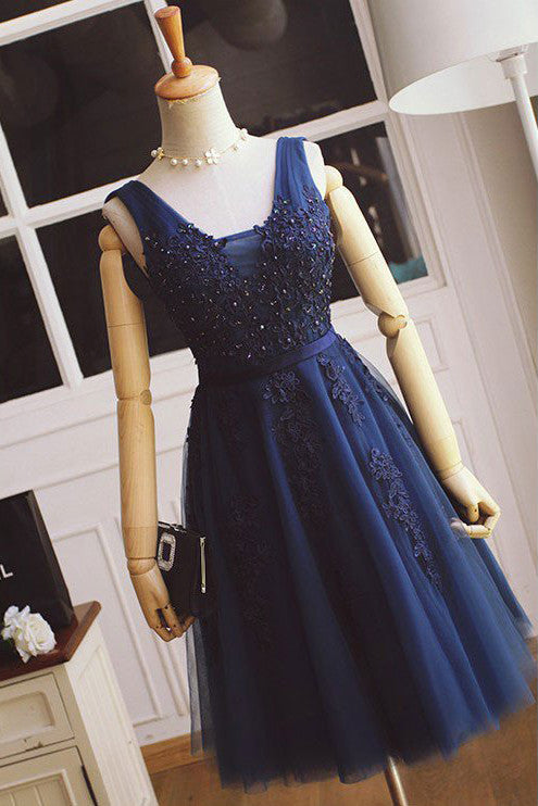A-line Bridesmaid Dresses,Tulle with Lace Appliqued Navy Blue Short Prom Dresses,Mini Dress,N130