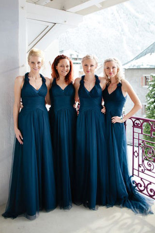 A-Line V-Neck Long Ruched Tulle Bridesmaid Dress, Cheap Halter Long Bridesmaid Dress N1513