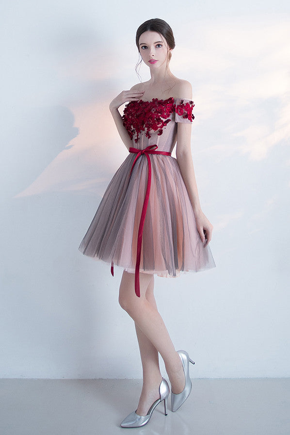 Off-the-shoulder Cocktail Dresses,Homecoming Dress With Red Appliques,Sexy Graduation Dress,Short Prom Dress,A-line Mini Dress With Belt