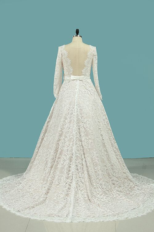 Vintage Long Sleeves Lace Wedding Dress with Sash, A Line Backless Bridal Dress N939