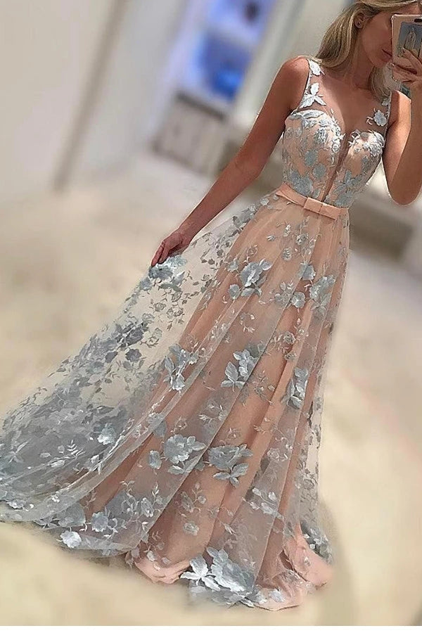 A-Line Sleeveless Prom Gown,Lace Appliques Sweep Train Coral Evening Dress with Bowknot,N100