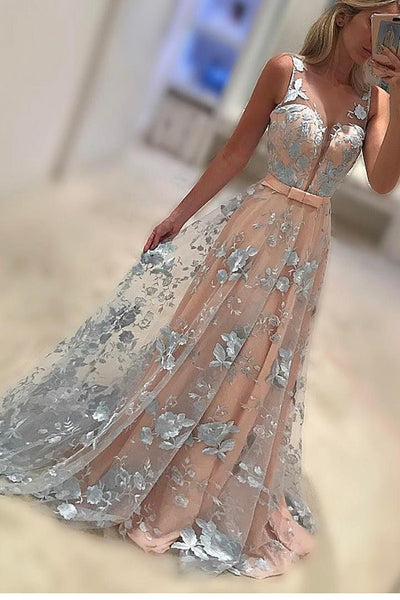 A-Line Bateau Prom Dress,Sleeveless Prom Gown,2017 Formal Dresses,Sweep Train Coral Evening Dress with Bowknot, Lace Appliques Prom Dresses,N100