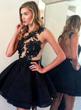 A-line Homecoming Dress,Short Prom Dress,Chiffon Black Backless Cocktail Dress with Appliques,N80