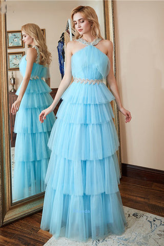 Unique Sleeveless Layers Floor Length Prom Dress, A Line New Style Formal Dresses N2648