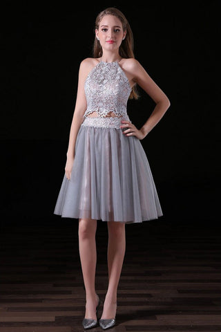 A-line Two Pieces Backless Knee-length Tulle Homecoming Dress,Two Piece Prom Dresses,N296