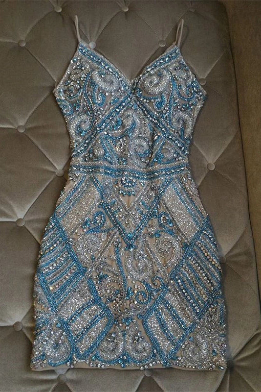 Gorgeous Sparkly V Neck Crystal Beaded Sheath Short Homecoming Dresses N1936