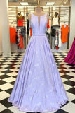 Floor-Length Sleeveless Lilac Prom Dress, A Line Long Evening Dresses N1521