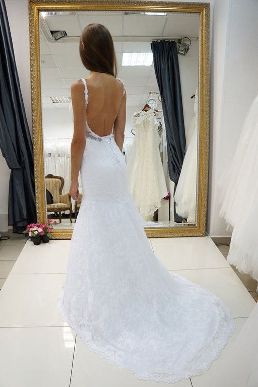 White Straps Open Back Lace Wedding Dress,Sexy Sweetheart Bridal Dress,Customized Bridal Gown,N134