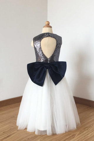 A Line Floor Length Charcoal Grey Sequin Ivory Tulle Flower Girl Dress with Navy Blue Bow