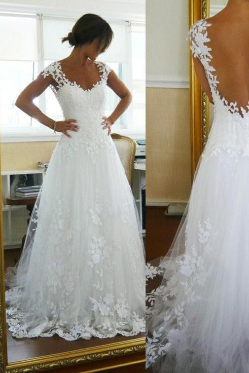 A-Line Lace White Straps Wedding Dresses,See-through Sleeveless Wedding Gowns,N125