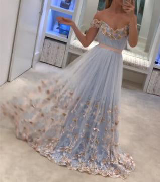A-line Off-the-shoulder Appliques Sweep Train Tulle Prom Dress with Sash Flowers,N509