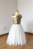 A Line Floor Length Ivory Tulle Flower Girl Dress with Gold Sequin, Cheap Flower Girl Dress F032